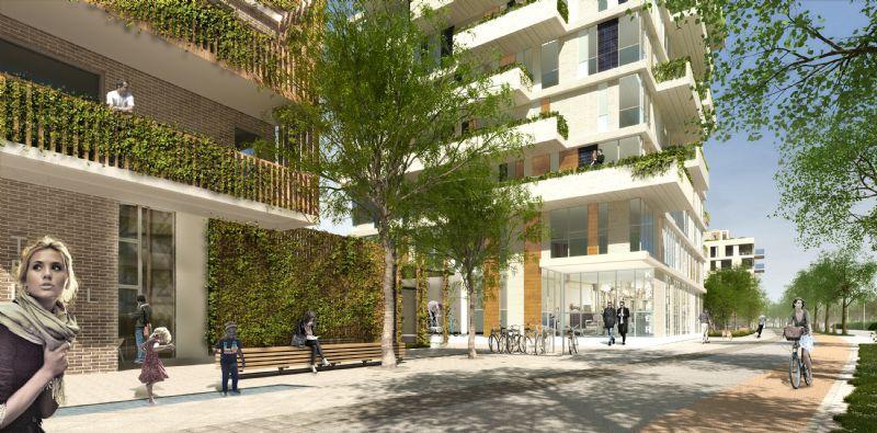 Het kaaiplein met assistentiewoningen, een toegang tot het park, het buurtrestaurant en de fietsbrug. Ontwerp: KCAP architects & planners / EVR-architecten / Omgeving