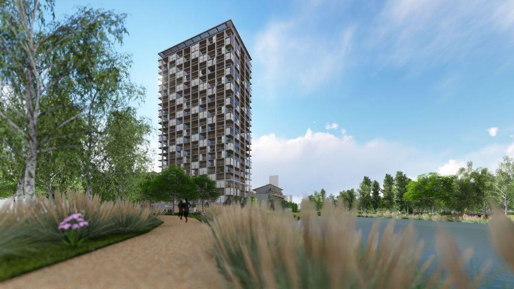 Brandweer eist skelet van beton en staal voor eerste Belgische houten wolkenkrabber van Shigeru Ban
