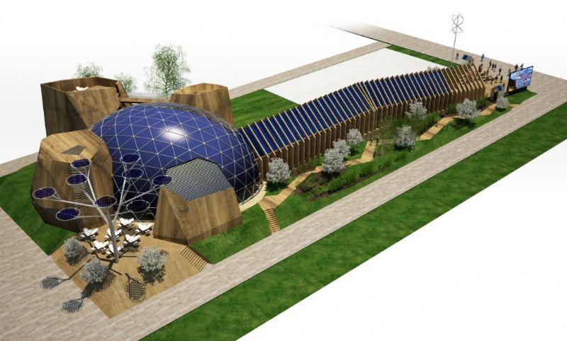 De achterkant van het paviljoen heeft een zonneboom die elektriciteit opwekt.