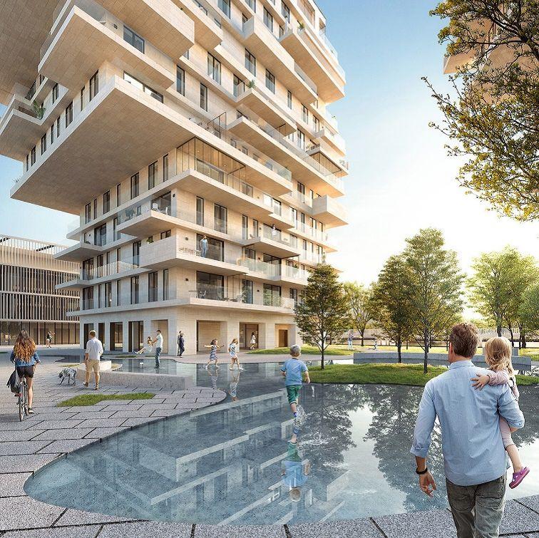 Waterfront Waregem, lauréat GOLD dans la catégorie 'Projets tertiaires, industriels, commerciaux et résidentiels' (GE)