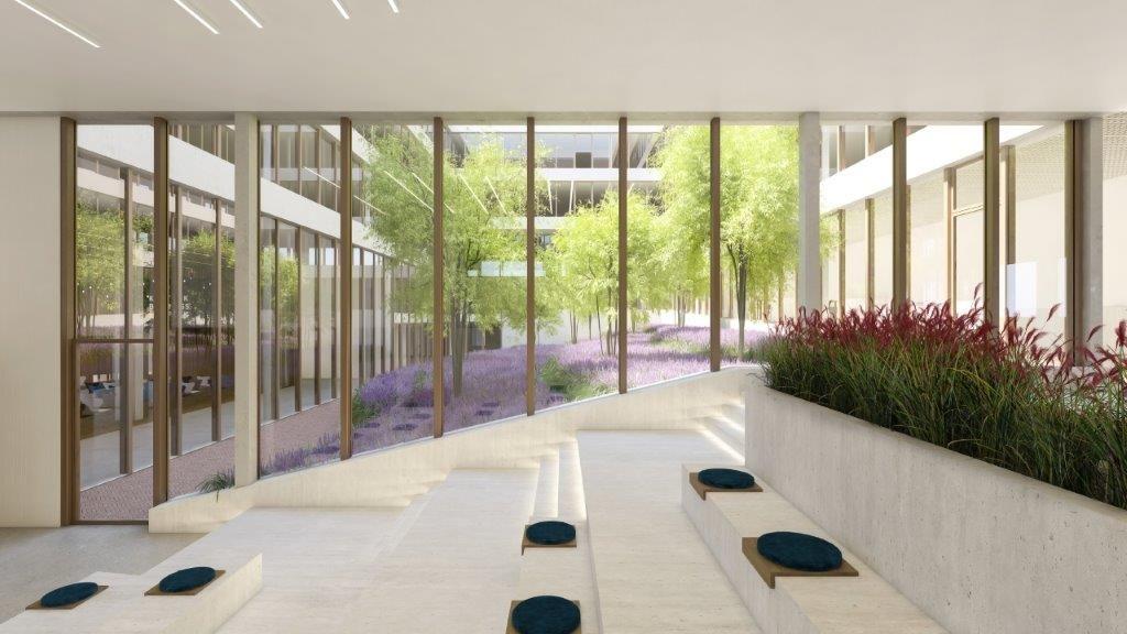 Dankzij een groene patio zullen de toekomstige gebruikers heel het jaar door van een overvloedige natuurlijke lichtinval en groene zichten kunnen genieten.