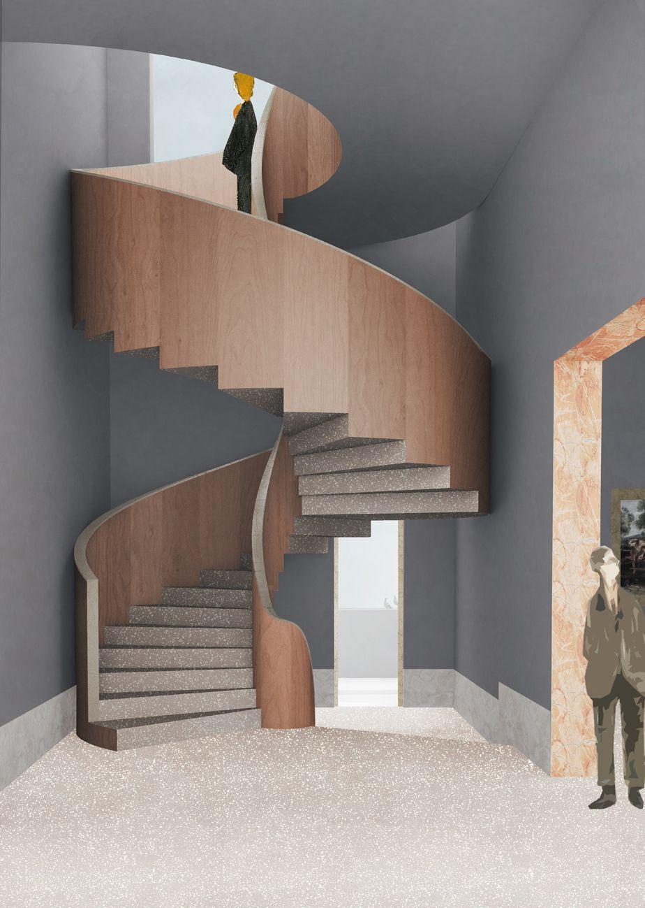 De dubbele spiraaltrap tussen de tweede en de derde verdieping: een vleugje Vredeman De Vries. De vloeren zijn uit granito, de trapwanden zijn uit hout. Kopse zijden werken zijn afgewerkt met marmer.