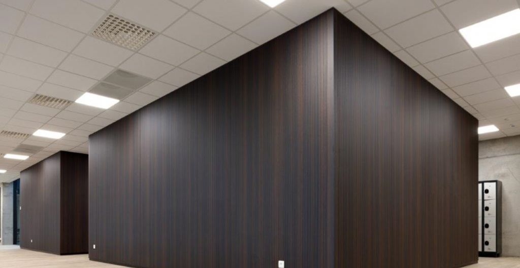 Akoestische panelen van Print Acoustics in chocoladefabriek Baronie in Brugge