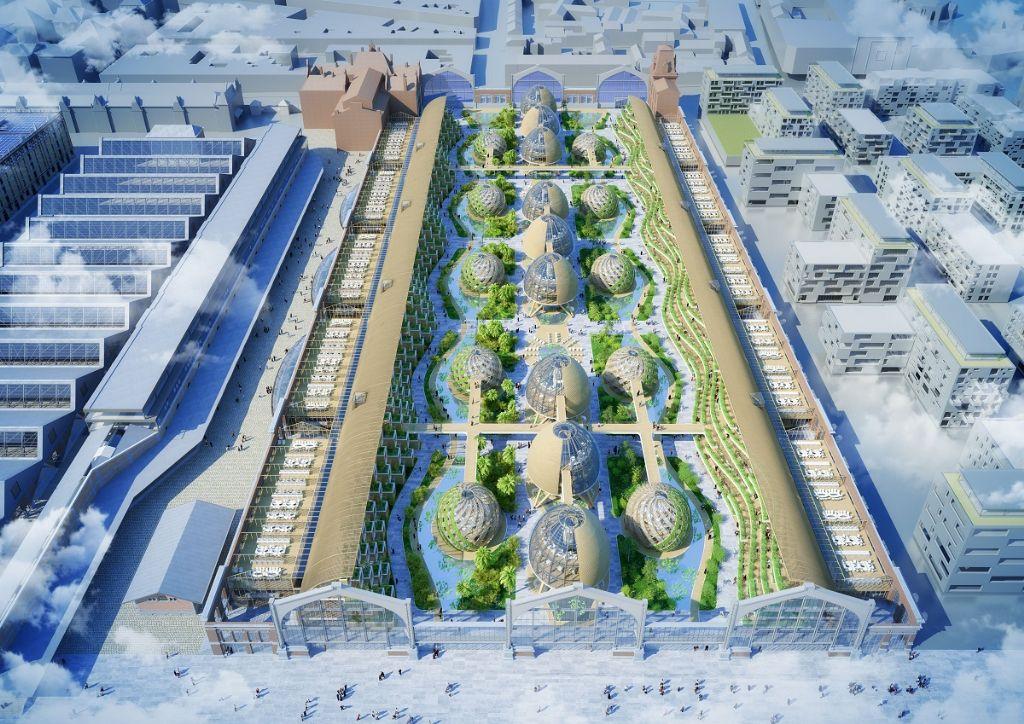 Pour montrer la transformation de la Gare maritime, les toitures ont ici été enlevées.