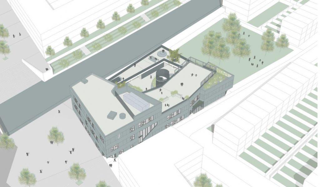 Nieuwe school met schuifaf op het dak