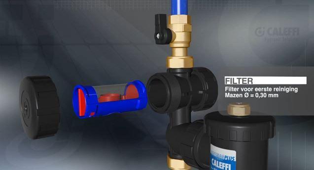 De filter is vervangbaar en kan verschillende groottes filteren.