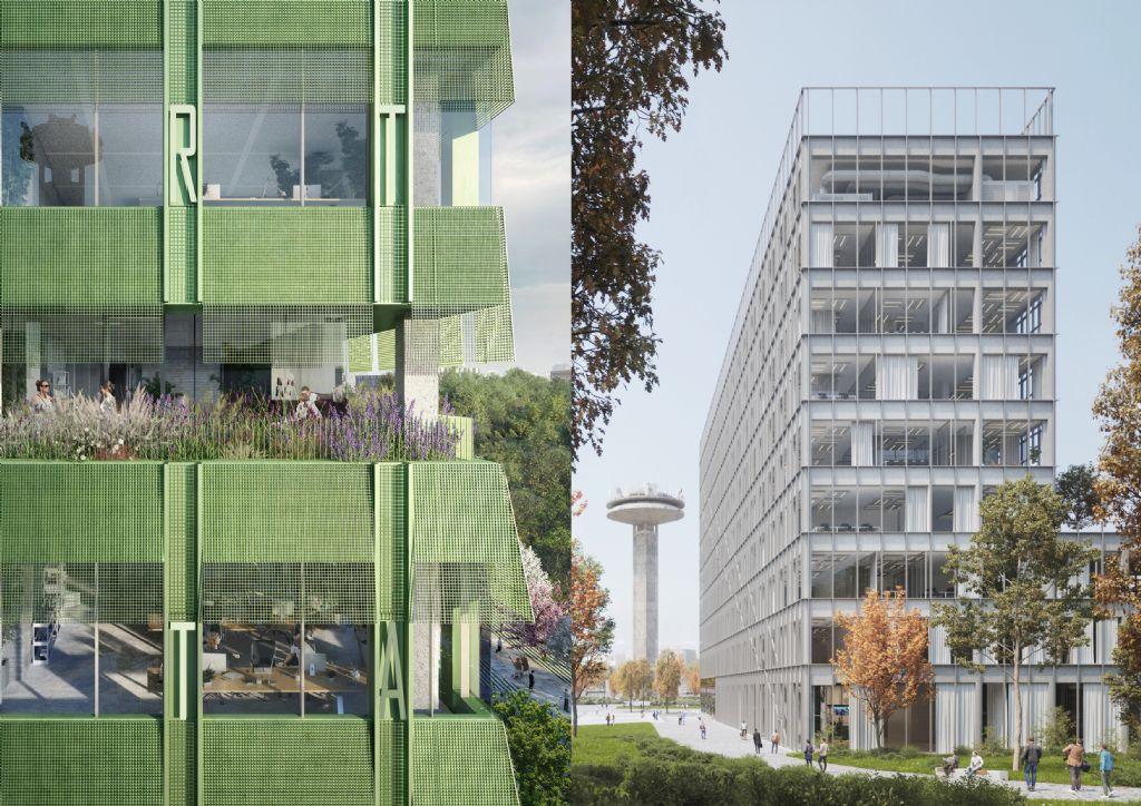 De kandidaat-ontwerpen naast elkaar, met links een beeld van BINST ARCHITECTS + Schmidt Hammer Lassen Architects en rechts een beeld van Architecten Achtergael + META architectuurbureau + jo taillieu architecten.