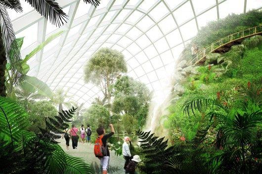 De botanische tuin is een welkome verademing van de vervuilde lucht in China.