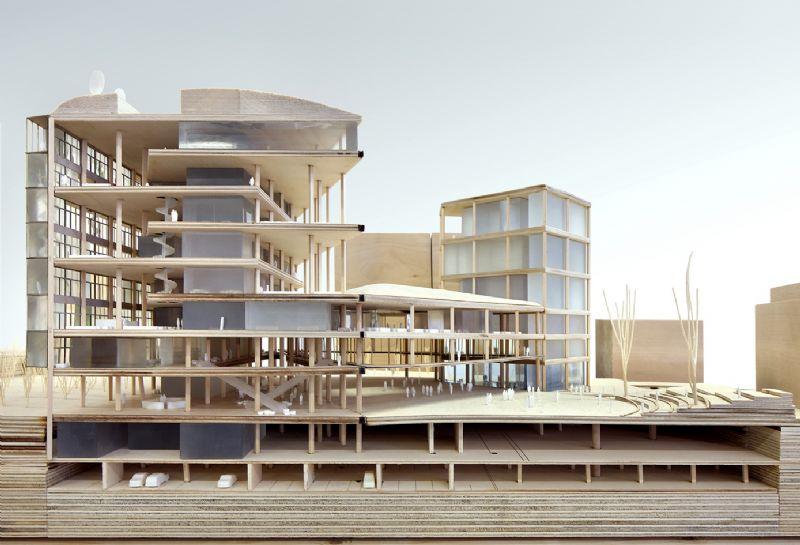 Maquette van het nieuw VRT-gebouw.