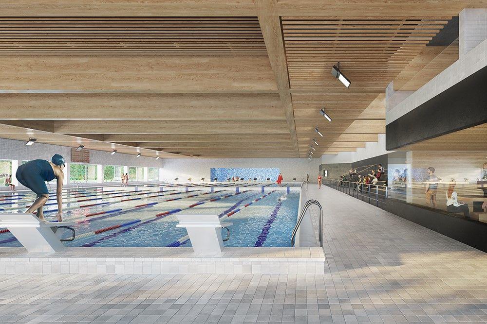 Voorstelling interieur van het zwembad