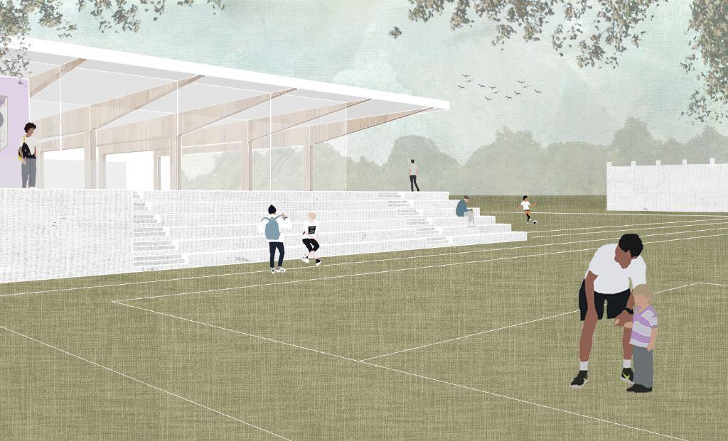 Vanuit de nieuwe kantine kijk je uit op de drie omliggende voetbalvelden en in de indoorhal.