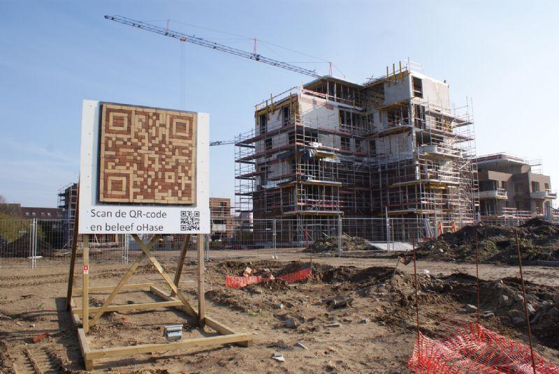 Met 750 bakstenen is de QR-code bij woonproject oHase in Hasselt de grootste van het land.