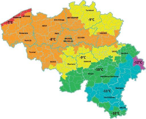 De nationale bijlage bij de norm NBN EN 12831 legt onder meer de basisbuitentemperatuur van de verschillende klimaatzones vast (Bron: kaart NGI 2001, legende WTCB)