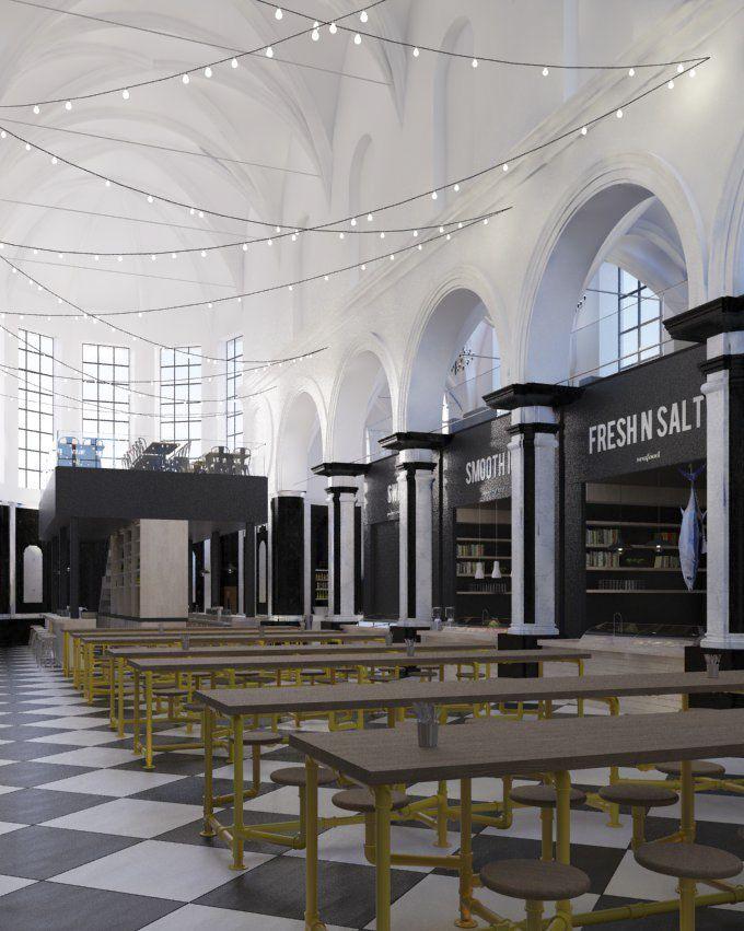 De Holy Food Market op de Gentse Vrijdagmarkt biedt lekkerbekken een culinaire hotspot. De eetgelegenheid geeft een nieuwe invulling aan de voormalige cisterciënzerkapel van de Baudelosite, na een drie jaar durende renovatie en restauratie.