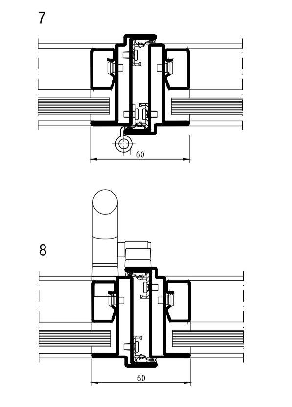Het scharnier (7) en de greep (8) van de aangepaste Art 15 tonen volledige symmetrie.