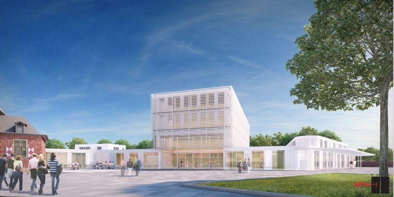 Het nieuwe administratieve centrum vormt een grens en overgang naar het achterliggende landelijk gebied.