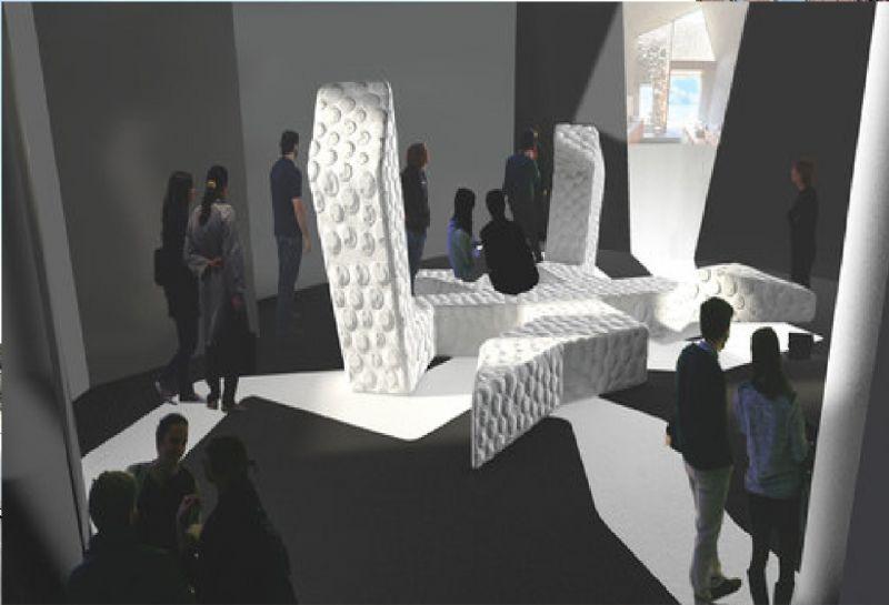 De tentoonstelling bevat een visuele link naar het handwerk bij bepleistering.