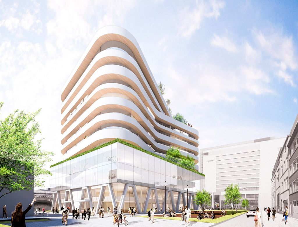 Het 46 meter hoge hoofdkwartier van De Persgroep Publishing zal gezien zijn atypische uiterlijk en sculpturale karakter sterk in het oog springen. (Beeld: BINST ARCHITECTS)