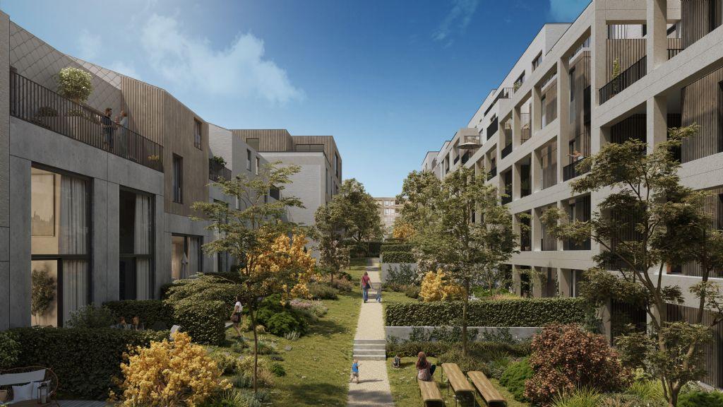 Voormalige Accosite in Leuven wordt duurzame woonwijk Burenberg met parktuin (BUUR, aNNo Architecten, POLO Architects, OYO Architects en C+S Architects)