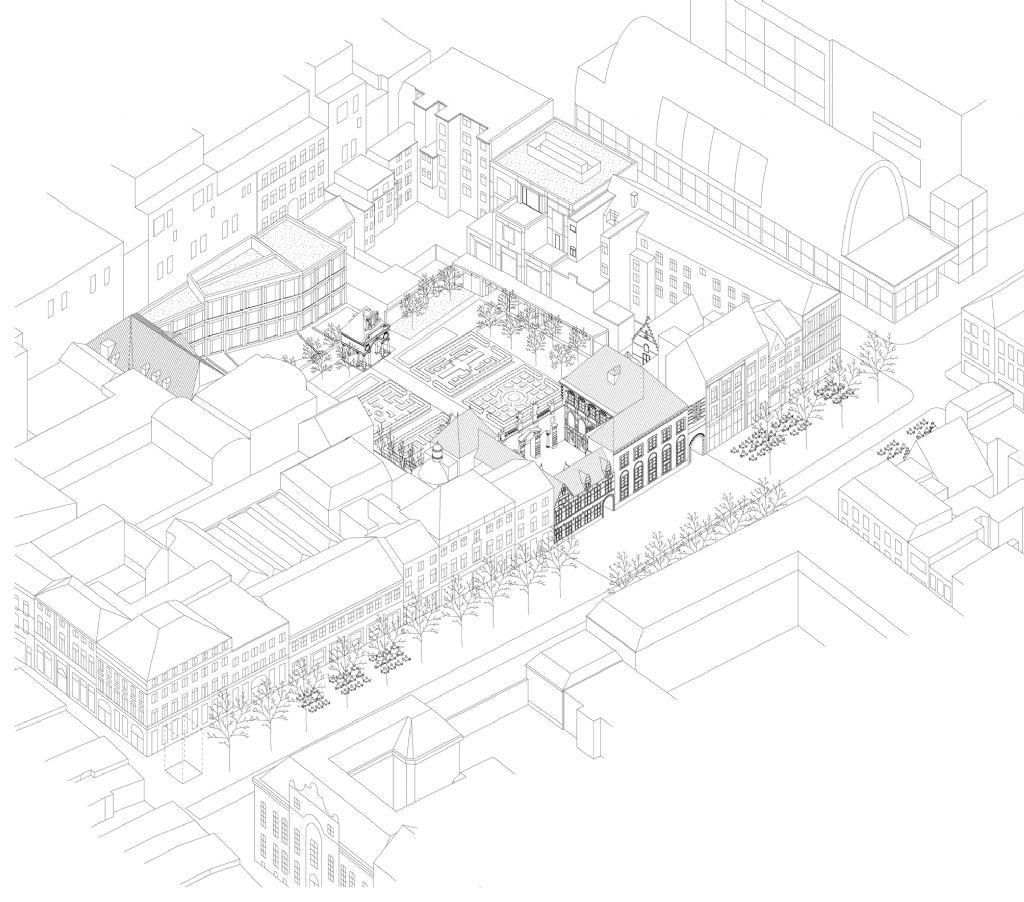 Bovenbouw Architectuur rolt een loper uit over de Wapper die plooit ter hoogte van het Rubenshuis. Zo wordt het Rubenshuis het centrum van een nieuwe ader door de stad.