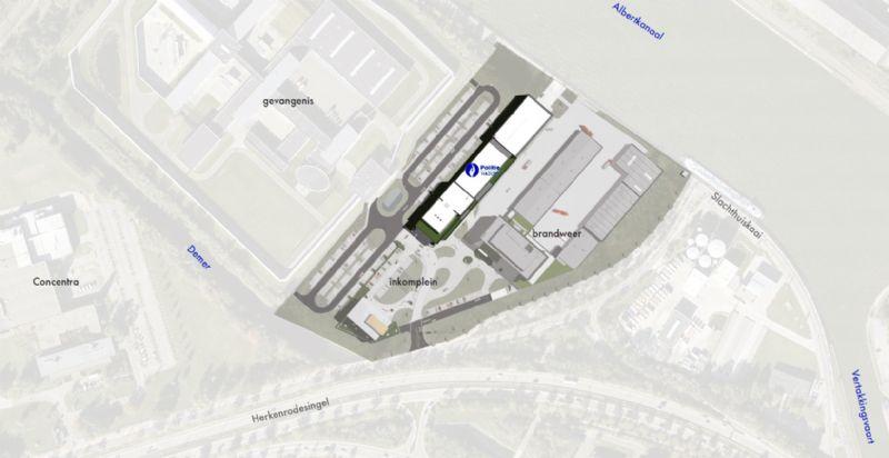 Le nouvel hôtel de police sera une partie importante du nouveau Site de Sécurité le long du canal Albert, où la prison de Hasselt est déjà implantée, et où une nouvelle caserne de pompiers et un centre pour la protection civile seront créés.