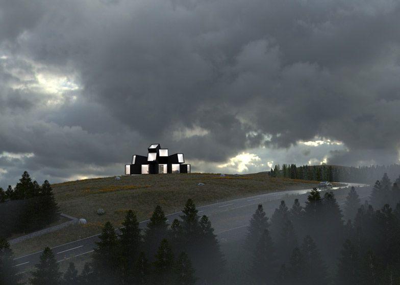 De zichten vanuit de horizontale containers doen de oorspronkelijke locatie, het zwarte woud nabij Hechingen, nog meer tot de verbeelding spreken.