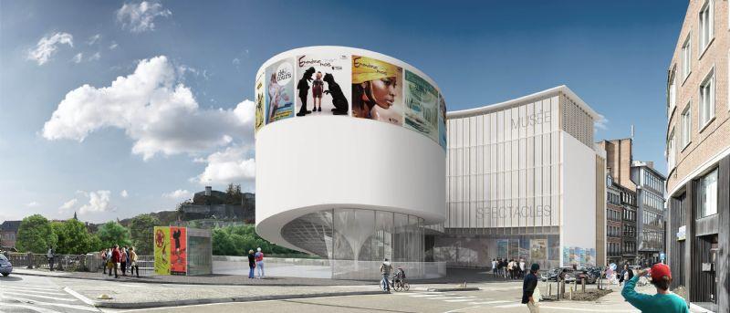 """L'élément prédominant du projet est le cylindre """"de proue"""" qui vient se placer à l'avant du bâtiment existant et participe à la restructuration des masses volumétriques et de l'espace public."""