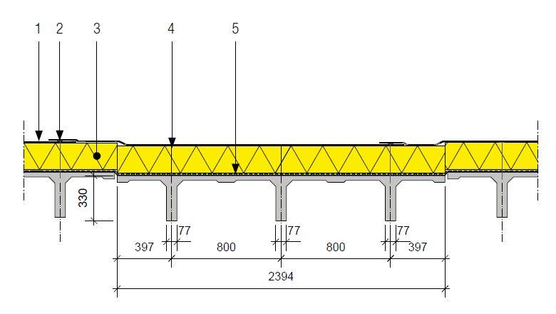Mogelijke plattedakopbouw op een veel voorkomend type van TT-elementen (in mm).