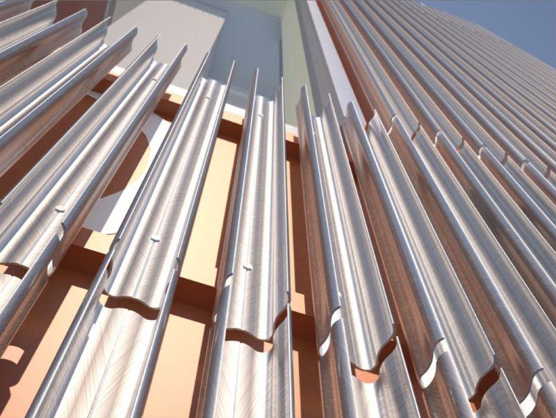 De dynamische voorgevel  bestaat uit geprefabriceerde panelen van Rockpanel die schuil gaan achter 100% gerecycleerde aluminium lamellen.