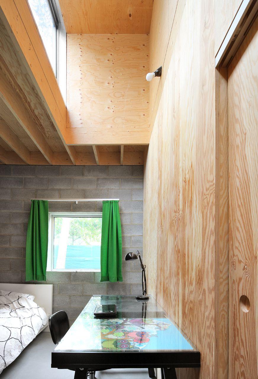 Slaapkamer met dakbox parallel met de structuur