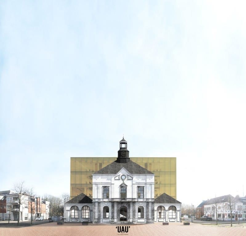 Oud en nieuw gemeentehuis in harmonie in Leopoldsburg (UAU collectiv)