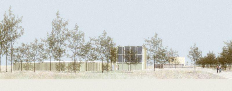 Collectief Noord tracht het asiel en crematorium op een verantwoorde manier in te planten in de landschappelijke omgeving