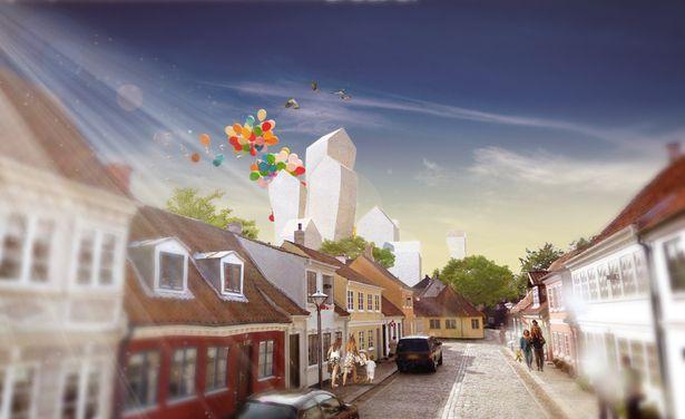De Follies Houses zouden een referentie worden voor het museum en een landmark voor de skyline van Odense