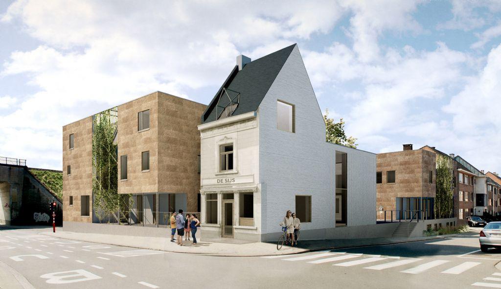 De voormalige hoekwoning annex café wordt herbouwd met behoud van zo veel mogelijk originele elementen.