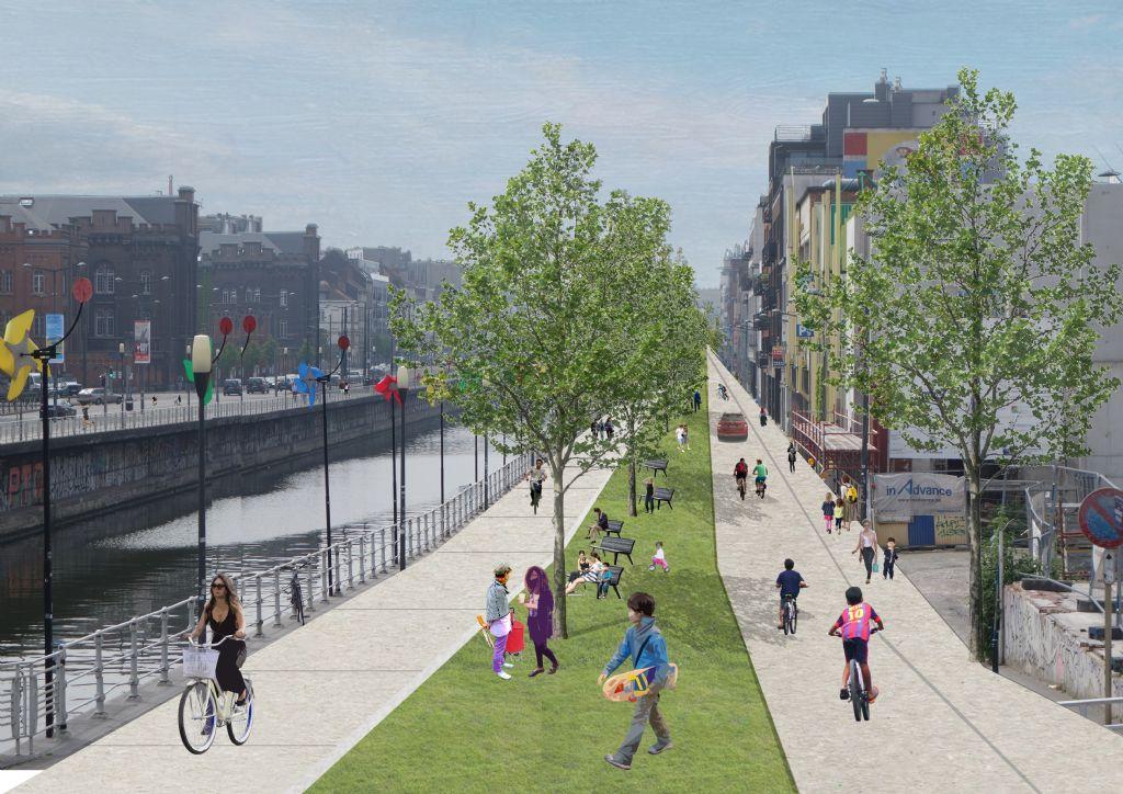 Filter Café Filtré en Architecture Workroom Brussels hebben plan klaar voor groene kanaalzone op kindermaat