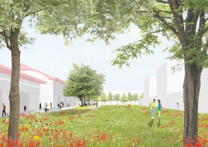 Een toekomstbeeld van het Hallenplein in de Slachthuiswijk