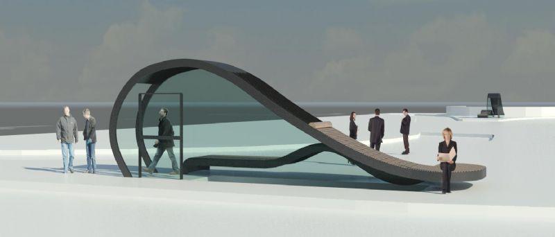 De golvende vorm van het paviljoen maakt het mogelijk om het dak te gebruiken als een straatmeubel voor de Gentenaars.