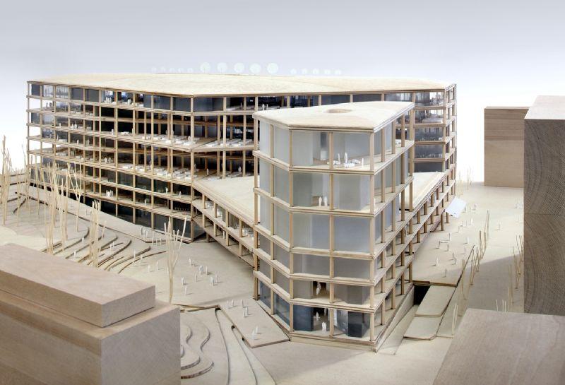 Een maquette van het nieuwe VRT-gebouw