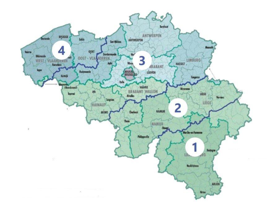 Zones die overeenkomen met de verschillende referentiewindsnelheden in België (NGI - aangepast door het WTCB).
