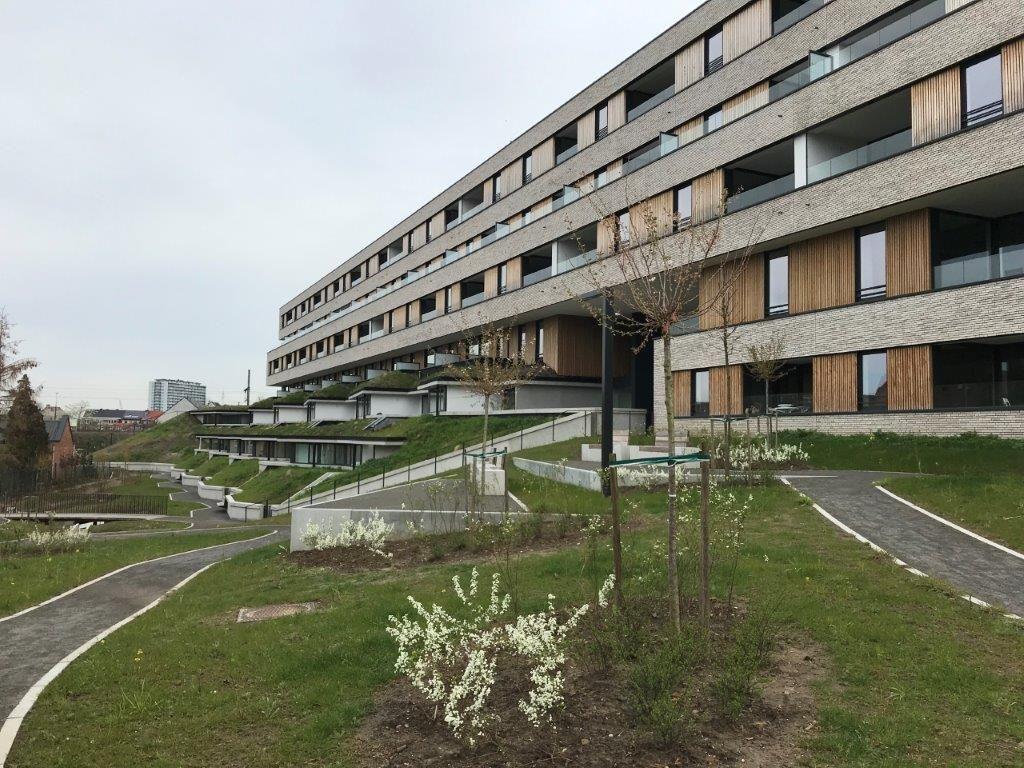 Ondanks het hoogteverschil op de site slaagden de architecten erin om het langgerekte balkvolume optimaal in te passen in de omgeving. (Foto: a33 architecten)