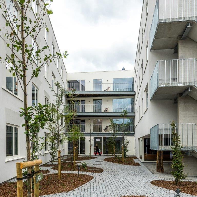De 'binnenschil' is iets 'rechtlijniger' opgevat, met een harmonische schikking van grote ramen, buitentrappen en balkons. (Beeld: Luc Roymans)