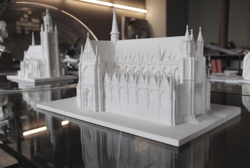 3D-print van Onze-Lieve-Vrouw-ter-Zavelkerk te Brussel. Schaal 1 op 200.