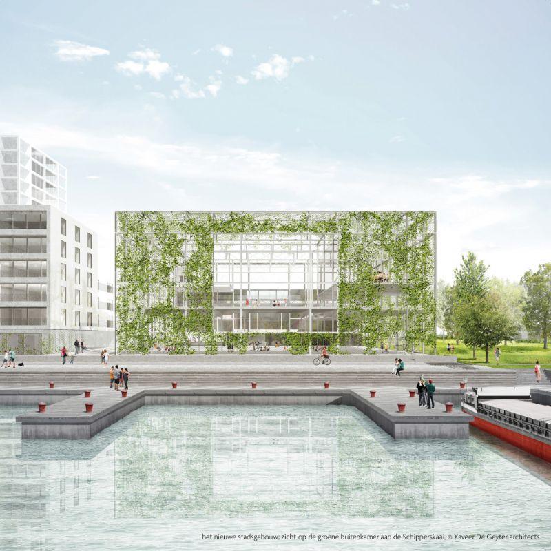 Het nieuwe stadsgebouw; zicht op de groene buitenkamer aan de Schipperskaai.