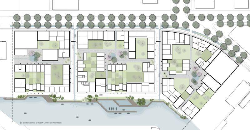 Het plan van de wijk toont hoe veel er gebouwd kan worden zonder dat de sociale interactie in het gedrang komt.
