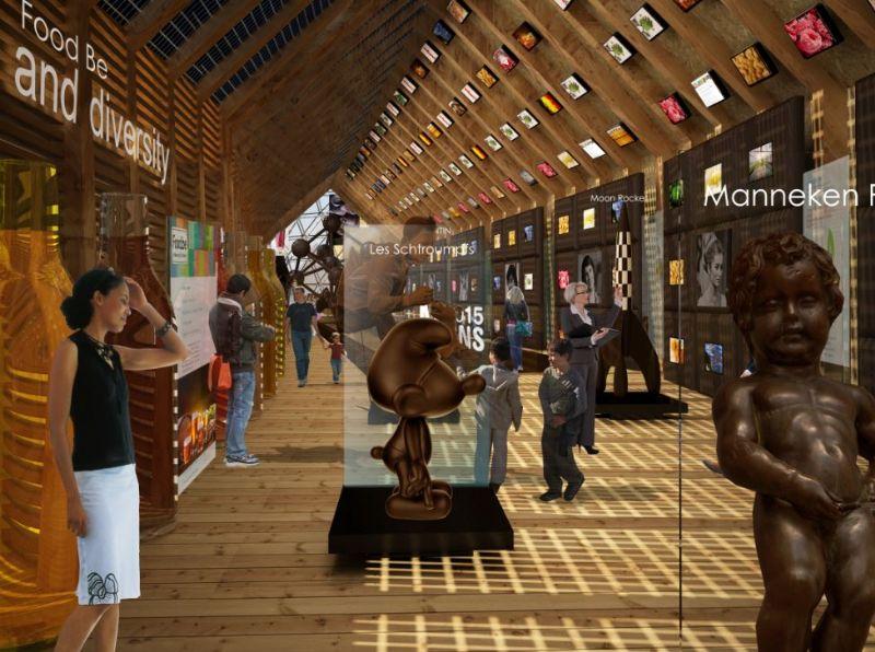 Het paviljoen heeft elk typisch product van België, smurfen inclusief.