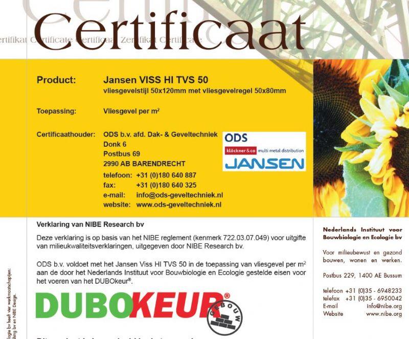 ODS Jansen behaalt DUBOkeur voor duurzaam bouwen met staal