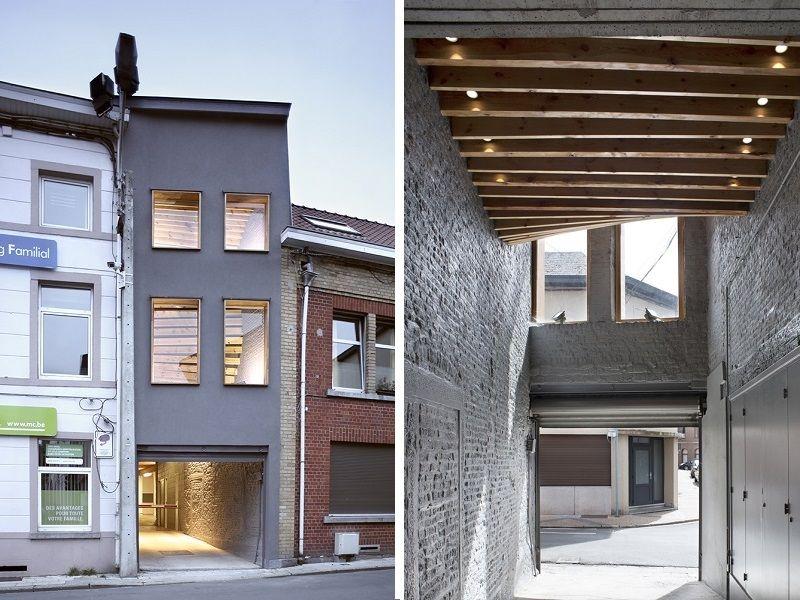 Rénovation d'un bâtiment servant d'entrée de parking à Fleurus (Olivier Vitry architecture)