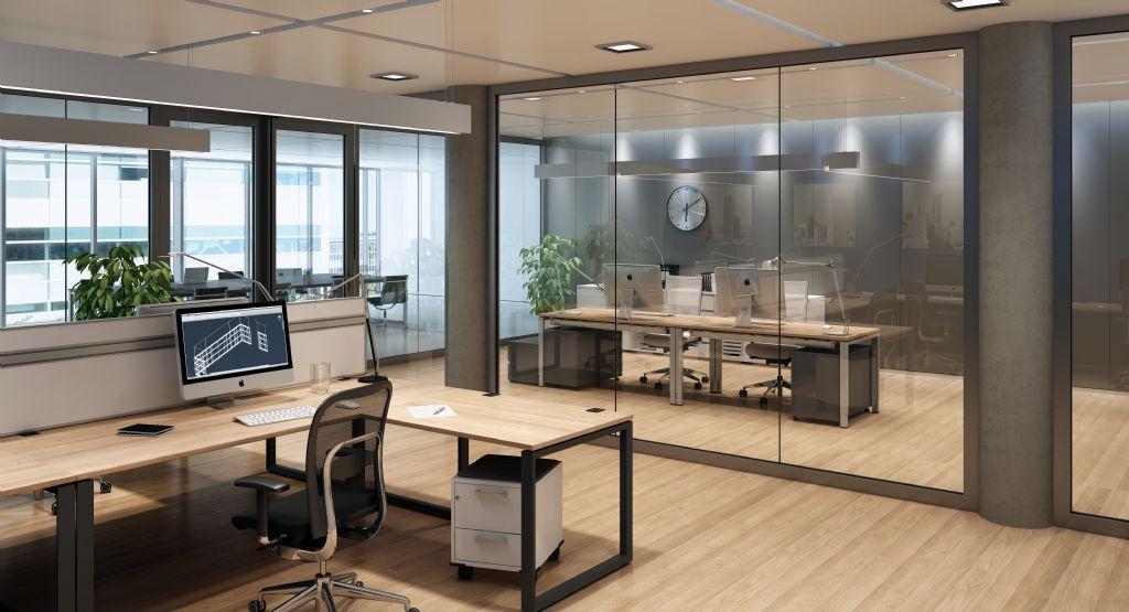 Dankzij de transparante modules maken constructies van dit systeem het interieur van een gebouw optisch groter.