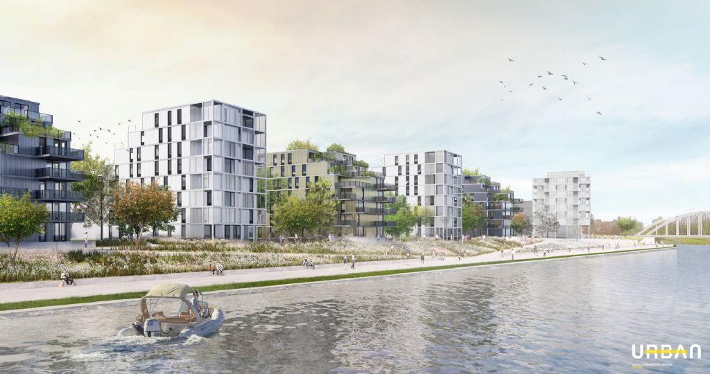 Image de synthèse montrant le projet de réhabilitation du site des Forges de Clabecq en logements