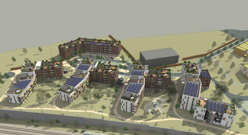 Les nouveaux immeubles se développent en peigne le long d'une petite voirie. Les espaces extérieurs résiduels sont aménagés sous forme d'un parc semi-public et de jardins.